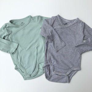 H&M Baby Kimono Bodysuit Stripe & Sage Green